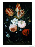 Tulips and Roses in a Glass Vase