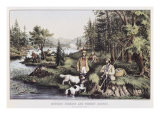 Hunting  Fishing and Forest Scene