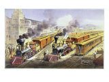 American Railroad Scene-Lightning Express Trains