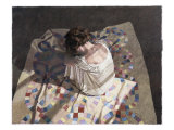 Woman Sitting on a Quilt