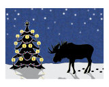 Christmas Moose in the Snow with Candlelit Tree