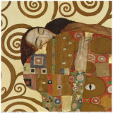 L'Accomplissement, frise dans l'hôtel Stoclet|Fulfillment, Stoclet Frieze, vers 1909 (détail) Reproduction d'art par Gustav Klimt
