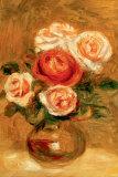 Roses dans un vase Reproduction d'art par Pierre-Auguste Renoir