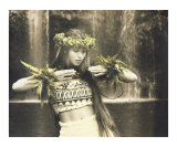 Hula dancer at waterfall