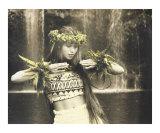 Hula dancer at waterfall