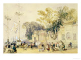 """Village Square in the Bay of Hong Kong  Plate 5 from """"Sketches of China"""""""
