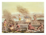 Indigenous Natives from Florida Preparing and Cooking Food