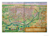"Map of Cairo  from ""Civitates Orbis Terrarum"" by Georg Braun and Frans Hogenberg  circa 1572"