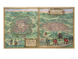 Map of Mexico and Cuzco  from &quot;Civitates Orbis Terrarum&quot;