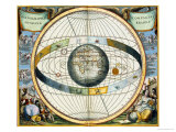 Map Showing Tycho Brahe's System of Planetary Orbits Around the Earth