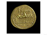 Aureus of Tiberius Depicting the Emperor in a Four-Horse Chariot Right