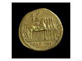 Aureus of Tiberius Depicting the Emperor in a Four-Horse Chariot Right