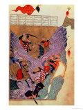 "Genghis Khan (circa 1162-1227) Fighting the Chinese in the Mountains  a Scene ""Shahanshahnama"""