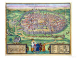 "Map of Jerusalem  from ""Civitates Orbis Terrarum"" by Georg Braun and Frans Hogenberg  circa 1572"