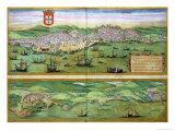 "Map of Lisbon  and Cascais  from ""Civitates Orbis Terrarum"""
