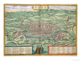 "Map of Rome  from ""Civitates Orbis Terrarum"" by Georg Braun and Frans Hogenberg  circa 1572"