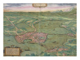 "Map of Mantua  from ""Civitates Orbis Terrarum"" by Georg Braun and Frans Hogenberg  1575"
