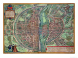 "Map of Paris  from ""Civitates Orbis Terrarum"" by Georg Braun and Frans Hogenberg  circa 1572"