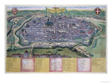 "Map of Vienna  from ""Civitates Orbis Terrarum"" by Georg Braun and Frans Hogenberg circa 1572-1617"