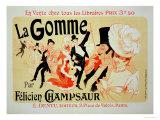 """Reproduction of a Poster Advertising """"La Gomme,"""" by Felicien Champsaur Giclée par Jules Chéret"""