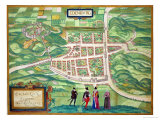 "Edinburgh Map  from ""Civitates Orbis Terrarum"" by Georg Braun and Frans Hogenberg circa 1572-1617"