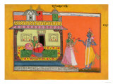 "Krishna Arriving at Radha's House  Illustration from a Manuscript of ""Rasamanjari"" of Bhanudatta"