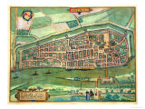 "Map of Bremen  from ""Civitates Orbis Terrarum"" by Georg Braun and Frans Hogenberg circa 1572-1617"
