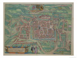 "Map of Weimar  from ""Civitates Orbis Terrarum"" by Georg Braun and Frans Hogenberg circa 1572-1617"