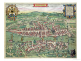 "Map of Zurich  from ""Civitates Orbis Terrarum"" by Georg Braun and Frans Hogenberg circa 1572-1617"