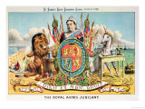 """The Royal Arms Jubilant  from """"St Stephen's Review Presentation Cartoon """" 25 June 1887"""