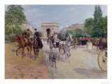Riders and Carriages on the Avenue Du Bois  circa 1900