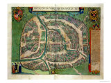 "Map of Moscow  from ""Civitates Orbis Terrarum"" by Georg Braun and Frans Hogenberg circa 1572-1617"