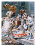 In the Kitchen'  Preparations for Christmas Eve Dinner in a Paris Restaurant  from 'L'Illustration'
