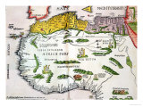Map of North Africa and West Africa  Published in Strasbourg in 1522