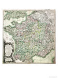Map of France as Divided into 58 Provinces  1765