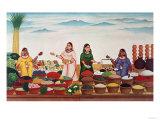 Vegetable and Spice Market at Benares  circa 1840