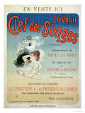 "Poster Advertising the Book ""La Vraie Clef Des Songes"" by Lacinius  1892"