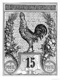 Postage Stamp Depicting the French Cockerel  Emblem of the French Republic  Late 19th Century