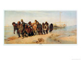Convicts Pulling a Boat Along the Volga River  Russia  1873