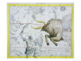 "Constellation of Taurus  Plate 2 from ""Atlas Coelestis "" by John Flamsteed  Published in 1729"