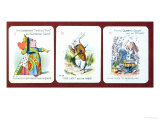 Three Happy Family Cards Depicting Characters from Alice in Wonderland by Lewis Carroll (1832-98)