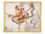 Constellation of Ophiucus and Serpens  Plate 22 from &quot;Atlas Coelestis&quot;