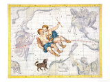 Constellation of Gemini with Canis Minor  Plate 13 from &quot;Atlas Coelestis&quot;