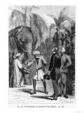 "Phileas Fogg in Front of an Elephant  Illustration from ""Around the World in Eighty Days"""