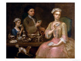A Family of Three at Tea  circa 1727