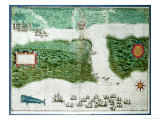 Map Depicting the Destruction of the Spanish Colony of St Augustine in Florida on 7th July 1586