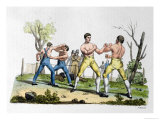 "Boxing in England  Illustration from ""Costume Antico E Moderno"""