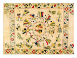 Rumal: Square Embroidery Cover Showing Punjabi Dance  Mid 19th Century