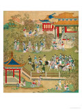 Emperor Yang Ti Strolling in His Gardens with His Wives  from a History of Chinese Emperors