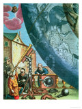 Astronomers Looking Through a Telescope  Detail from a Map of the Constellations